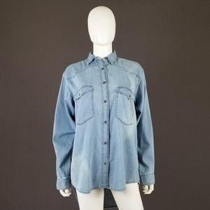 ASOS Tall Oversized Denim Button Down Collar Shirt